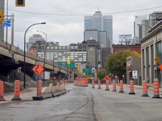 Road construction in Montreal