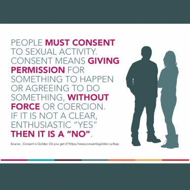 "People must consent to sexual activity. Consent means giving permission for  something to happen or agreeing to do something, without force or coercion.  If it is not a clear, enthusiastic ""yes"" then it is a ""no."""