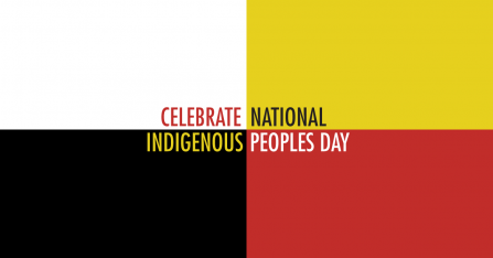 Celebrate National Indigenous Peoples Day text on white, yellow, black, red background
