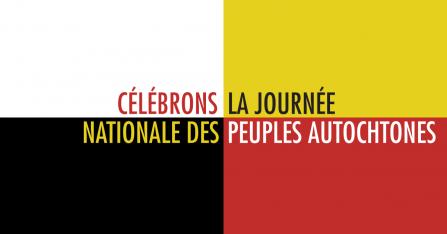 Célébrons la Journée nationale des peuples autochtones sur un fond blanc, jaune, rouge et noir