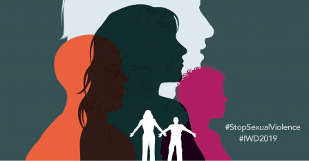 Silhouettes of figures in profile in various colours, text reads #StopSexualViolence #IWD2019