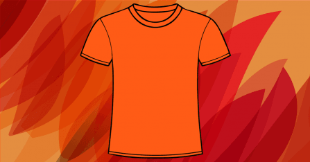 Orange t-shirt on a light orange background with pattern in many shades of orange