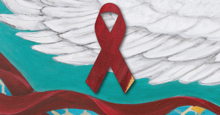 Red ribbon on a blue background with a white wing