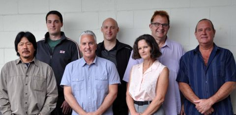 Members of the PNE bargaining team (left to right): Gerry Wong, Max Harrison, Ron Pizzolon, Giovanni Cianelli, Deborah Skerry, Dennis Donnelly, Rob Froescher