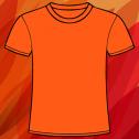 Orange t-shirt on a light orange background with pattern in many shades of orange