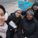 CUPE 4948 members getting the message out on staffless libraries.]