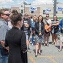 Manifestation du SCFP 4475 à Magog le 18 juin 2018 pour dénoncer la détresse du personnel et des patients dans le réseau de la santé et des services sociaux. Photo archives SCFP / Claude Roussel