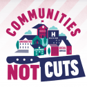 "Graphic design saying ""communities not cuts"""