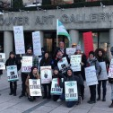 Cupe members on strike outside Vancouver Art Gallery