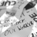 Picket signs in a pile