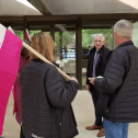 CUPE members picket outside wine and cheese