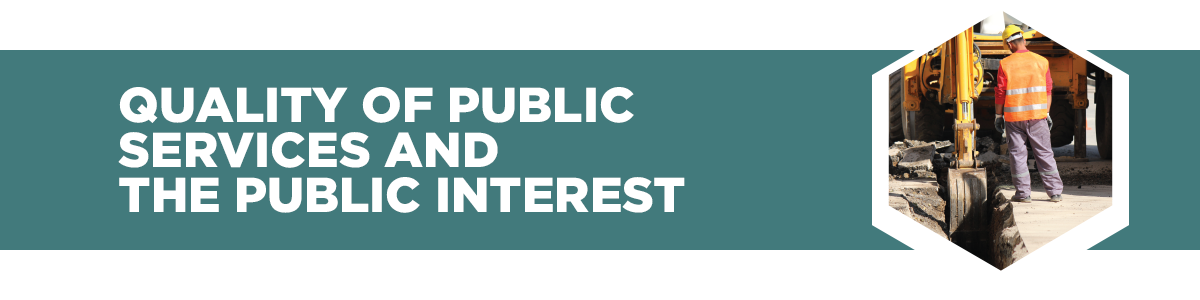 Quality of public services and the public interest